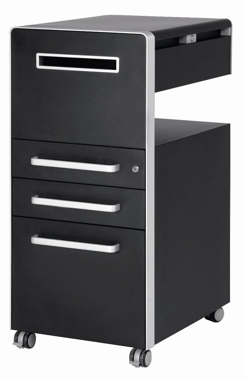 Rollcontainer design hoch  Abbildung sehr robuster Schreibtisch-Rollcontainer schwarz, mit ...