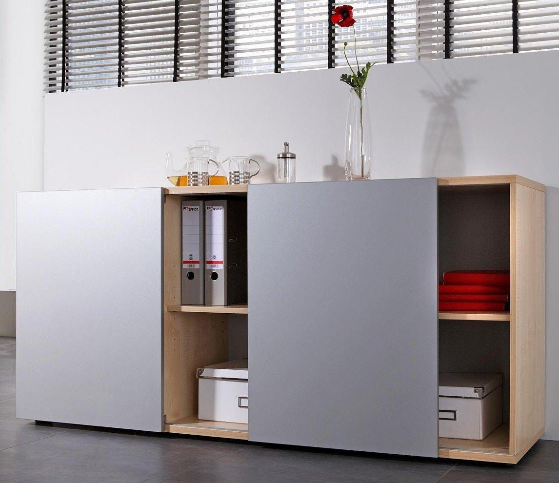 modernes b ro sideboard f r aktenordner und b romaterial mit zwei schiebet ren. Black Bedroom Furniture Sets. Home Design Ideas