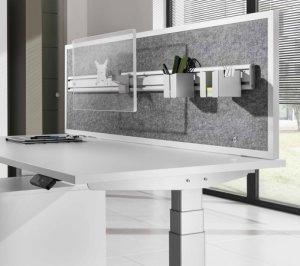 ger uschabsorbierende sichtschutz und schallschutz trennwand zur stabilen schreibtischmontage. Black Bedroom Furniture Sets. Home Design Ideas