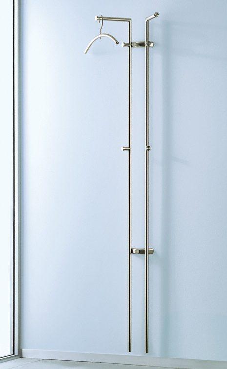 elegante edelstahl wandgarderobe mit 2 garderobenstangen und mantelhaken aus geschliffenem edelstahl. Black Bedroom Furniture Sets. Home Design Ideas