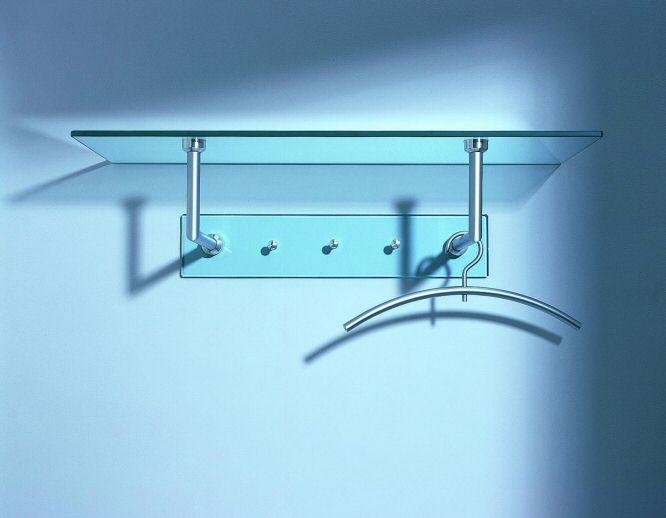 garderobe zur wandmontage aus klarglas und mit ablage hutablage garderobe gard 01. Black Bedroom Furniture Sets. Home Design Ideas