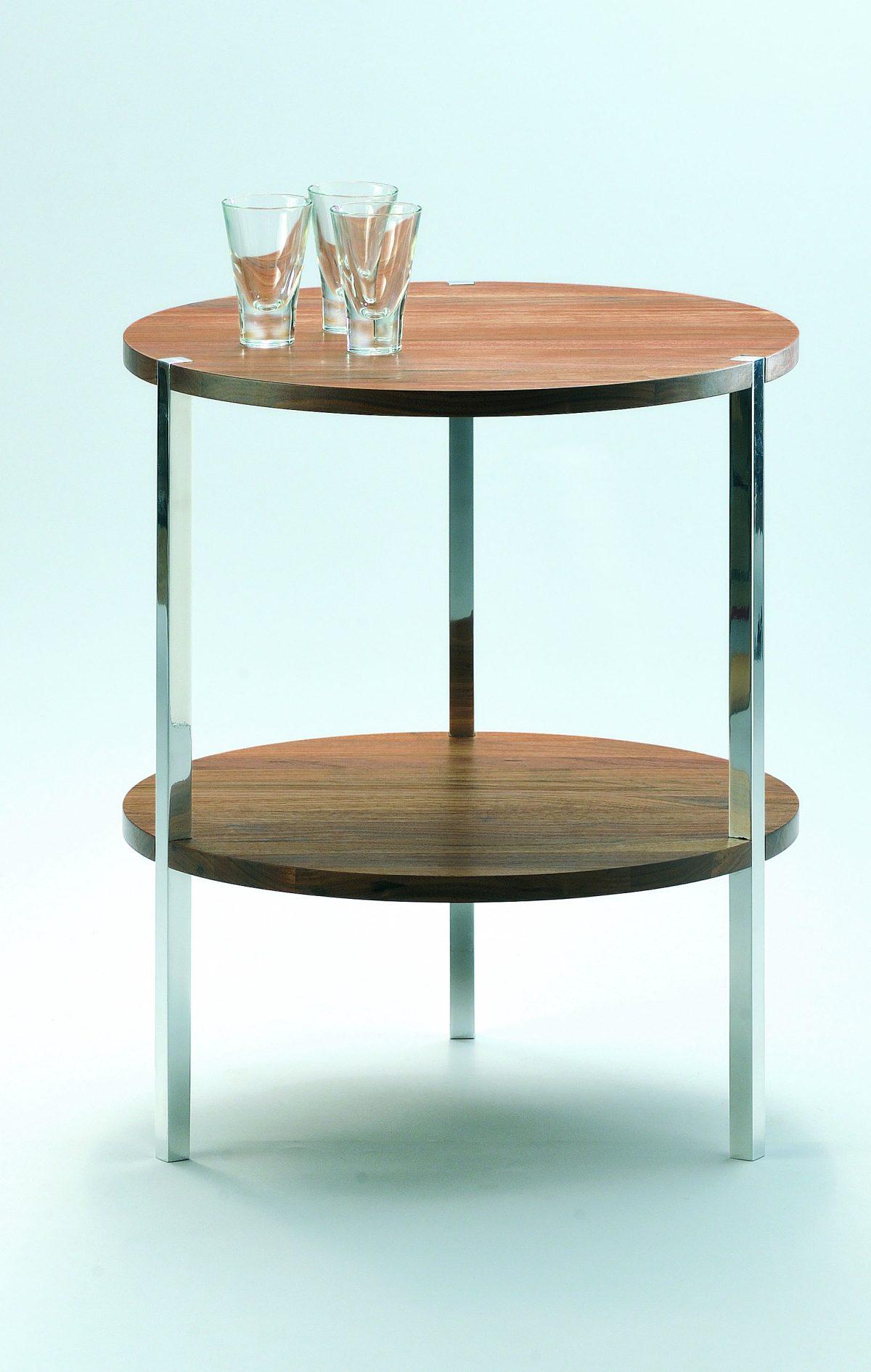 runder Beistelltische mit 2 robusten Tischplatten aus