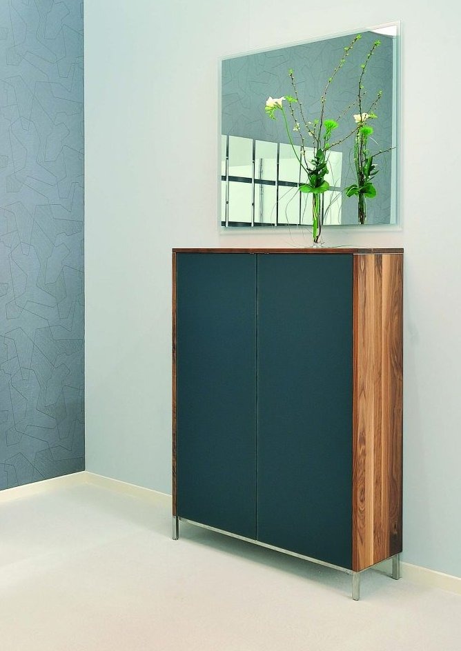 moderner wohnzimmerschrank aus hochwertigem nussbaum massiv und schrankt ren aus satinato glas. Black Bedroom Furniture Sets. Home Design Ideas