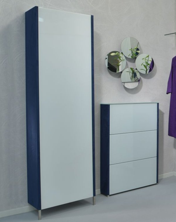 design schuhschrank glast ren wei wildlederoptik velourbezug blau. Black Bedroom Furniture Sets. Home Design Ideas