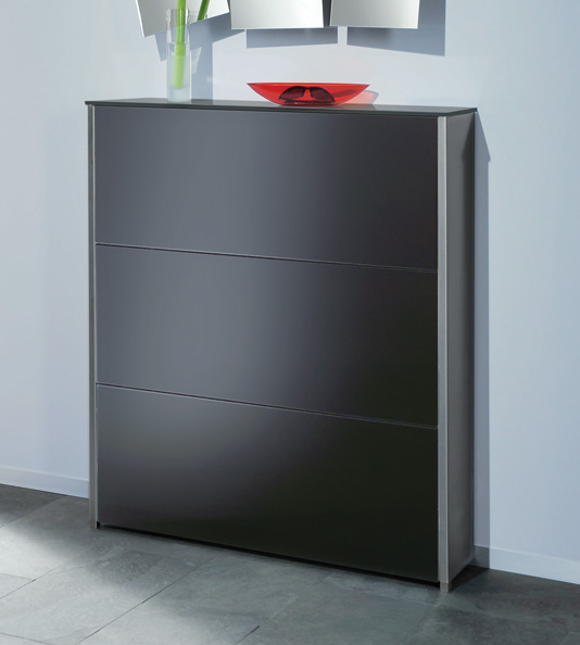moderner schuhschrank mit 3 klappf cher f r bis zu 21 paar. Black Bedroom Furniture Sets. Home Design Ideas