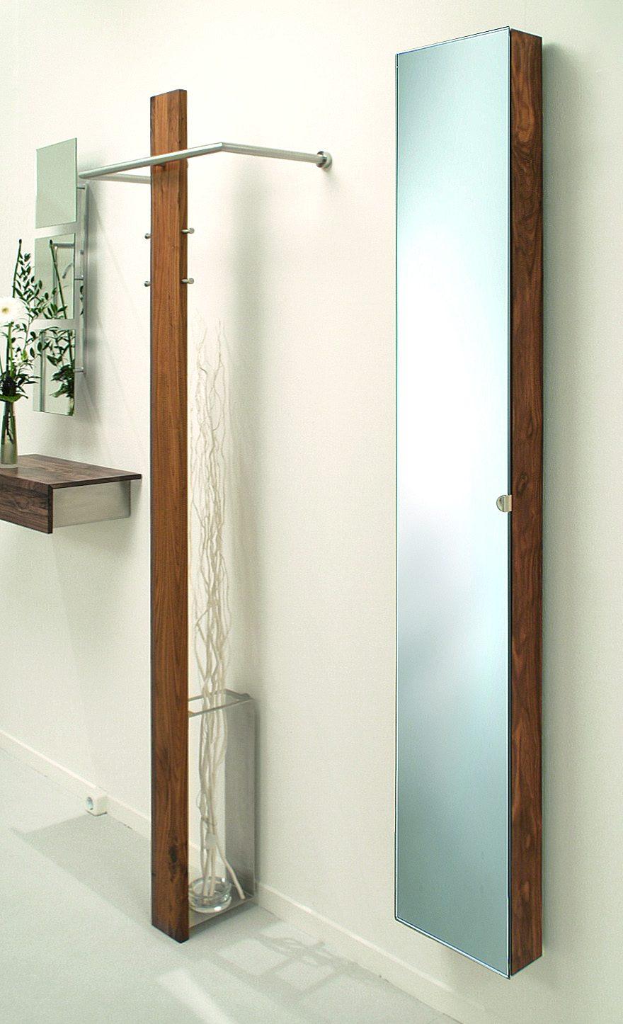eleganter spiegelschrank h he x breite x tiefe 175 5 x 27 5 x 12 cm aus nussbaum massiv. Black Bedroom Furniture Sets. Home Design Ideas