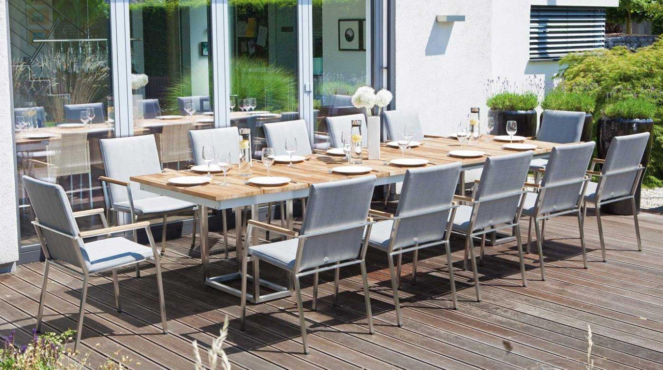 Gartenmobel Holz Possling :   Terrassentisch aus Edelstahl und Massivholz für 12 Personen