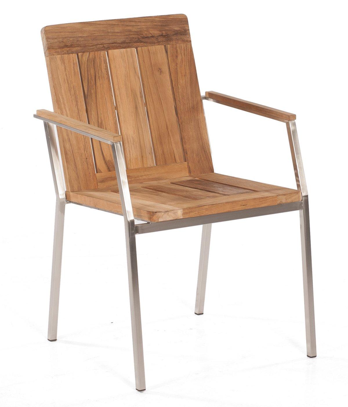 Gartenmobel Aus Holz Saubern :  robuster und stapelbarer Gartenstuhl aus Edelstahl und Old Teak massiv