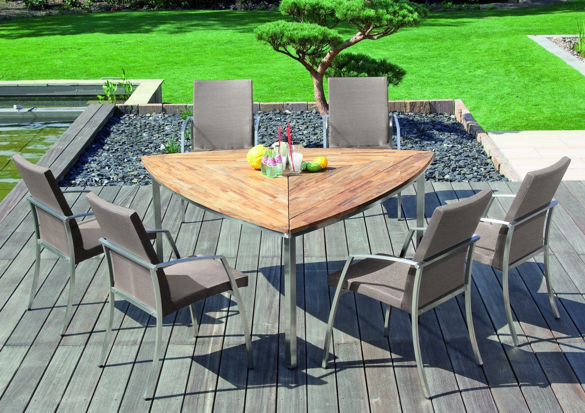 Gartenmobel Outlet Bw : EdelstahlGartenstuhl Rondo mit Gartentisch Triangel