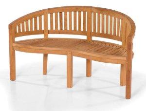 robuste uns bequeme nieren gartenbank 3 sitzer aus hochwertigem teakholz mit einer halbrunden. Black Bedroom Furniture Sets. Home Design Ideas