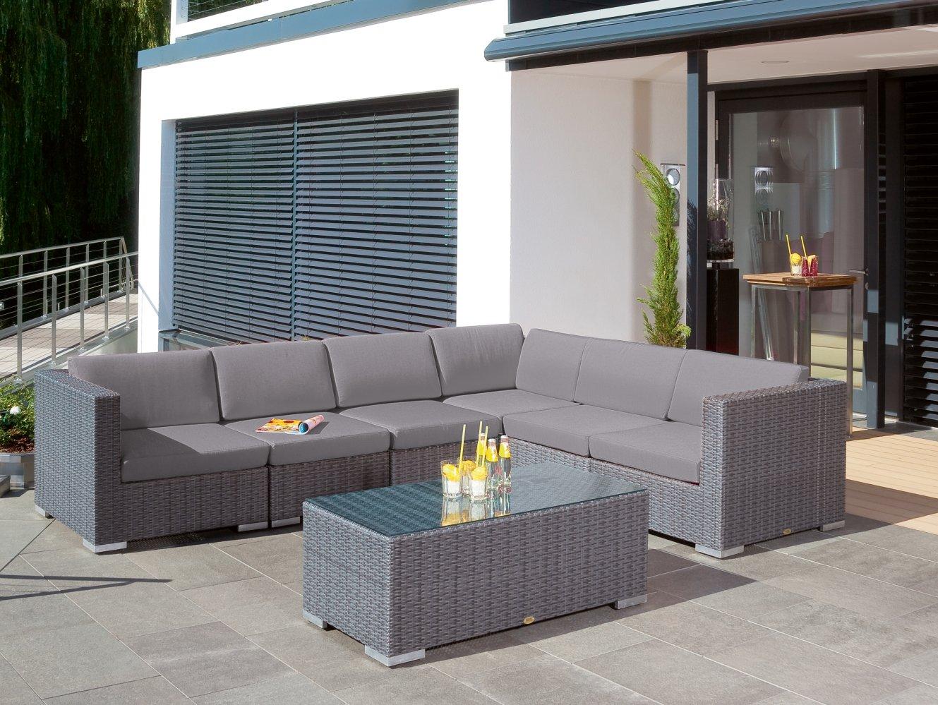witterungsbest ndige outdoor eckcouch mit geflecht couchtisch hochwertig flechtwerk. Black Bedroom Furniture Sets. Home Design Ideas