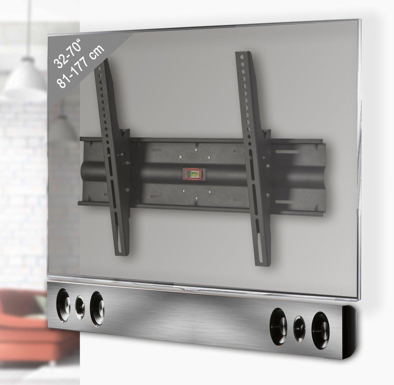sehr stabile und neigbare wandhalterung f r soundbar und flachbildfernseher bis 70 zoll. Black Bedroom Furniture Sets. Home Design Ideas