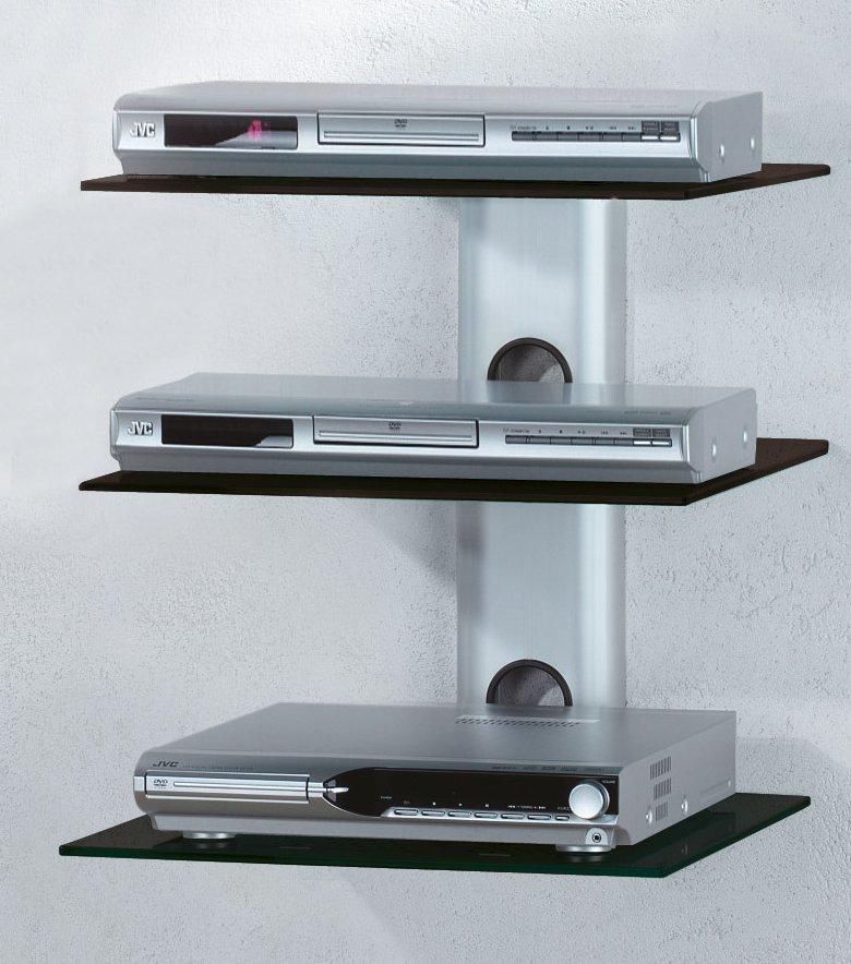 wand tr gersystem mit schwarzem aluminium kabelkanal und 3 fachb den aus schwarzem glas. Black Bedroom Furniture Sets. Home Design Ideas