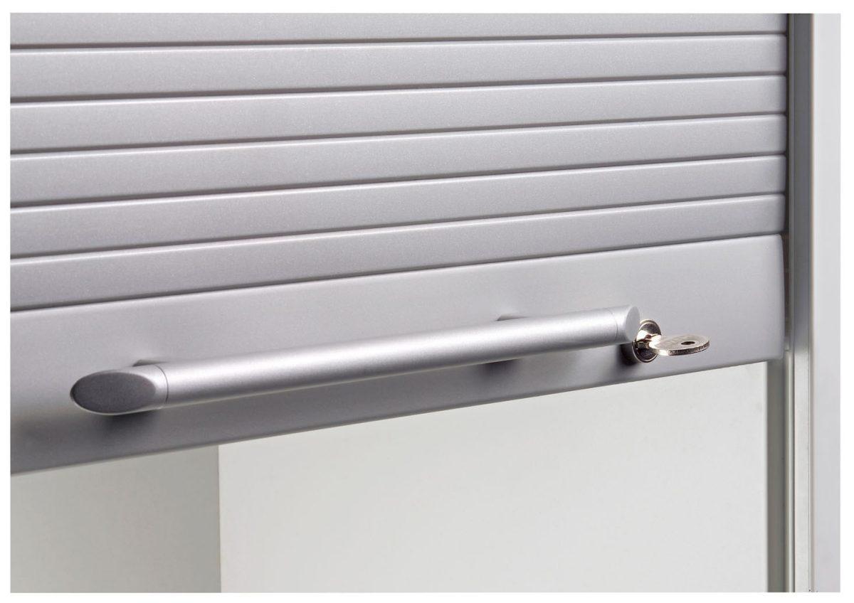 Aktenschrank abschließbar hoch  abschließbare Rollladentür (silberfarbig) des robusten Büro ...