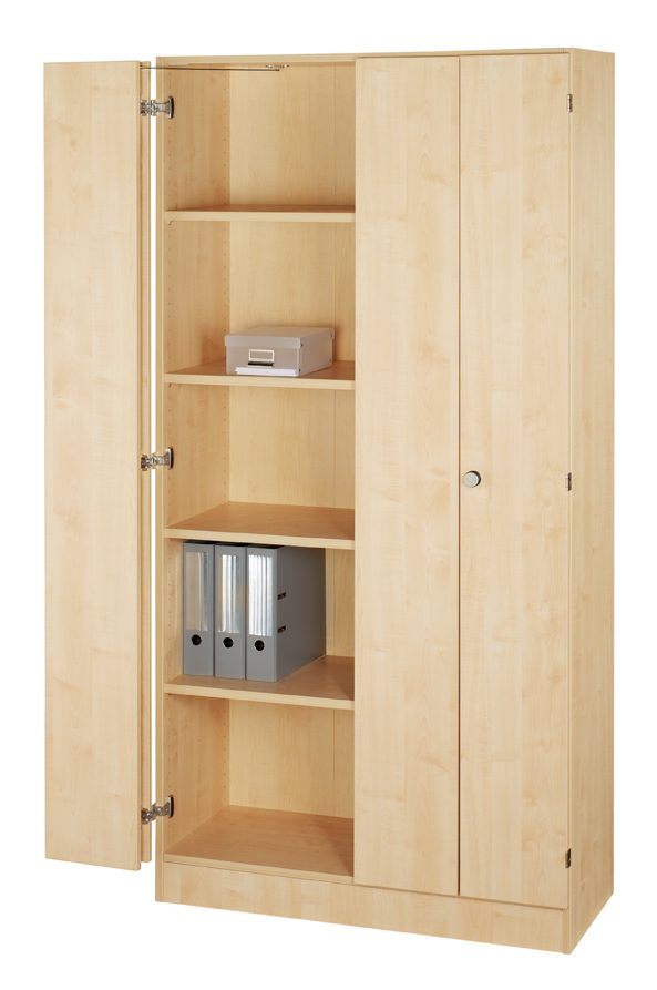 abschließbarer Büroschrank mit Falttüren und 4 höhenverstellbaren ...