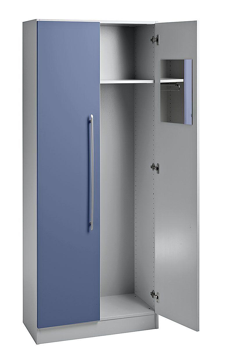 moderner Büro-Garderobenschrank mit Kleiderstange und Spiegel in ...