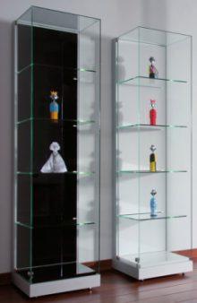 Moderne Vitrinen moderne und robuste ausstellungs vitrine mit 4 festen glasböden led