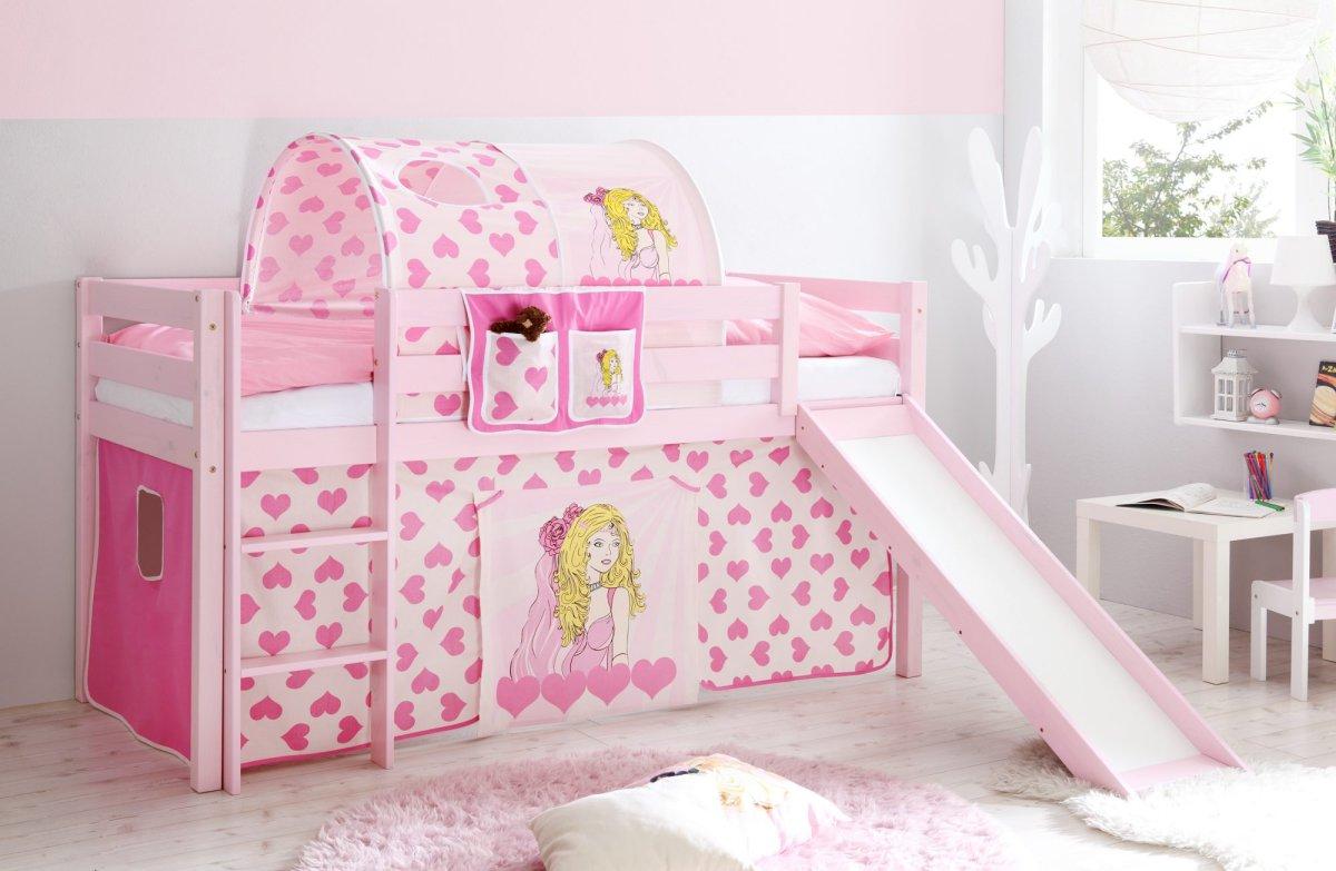 """Mädchen hochbett """"manuel kiefer massiv, rosa lackiert"""" von ticaa ..."""