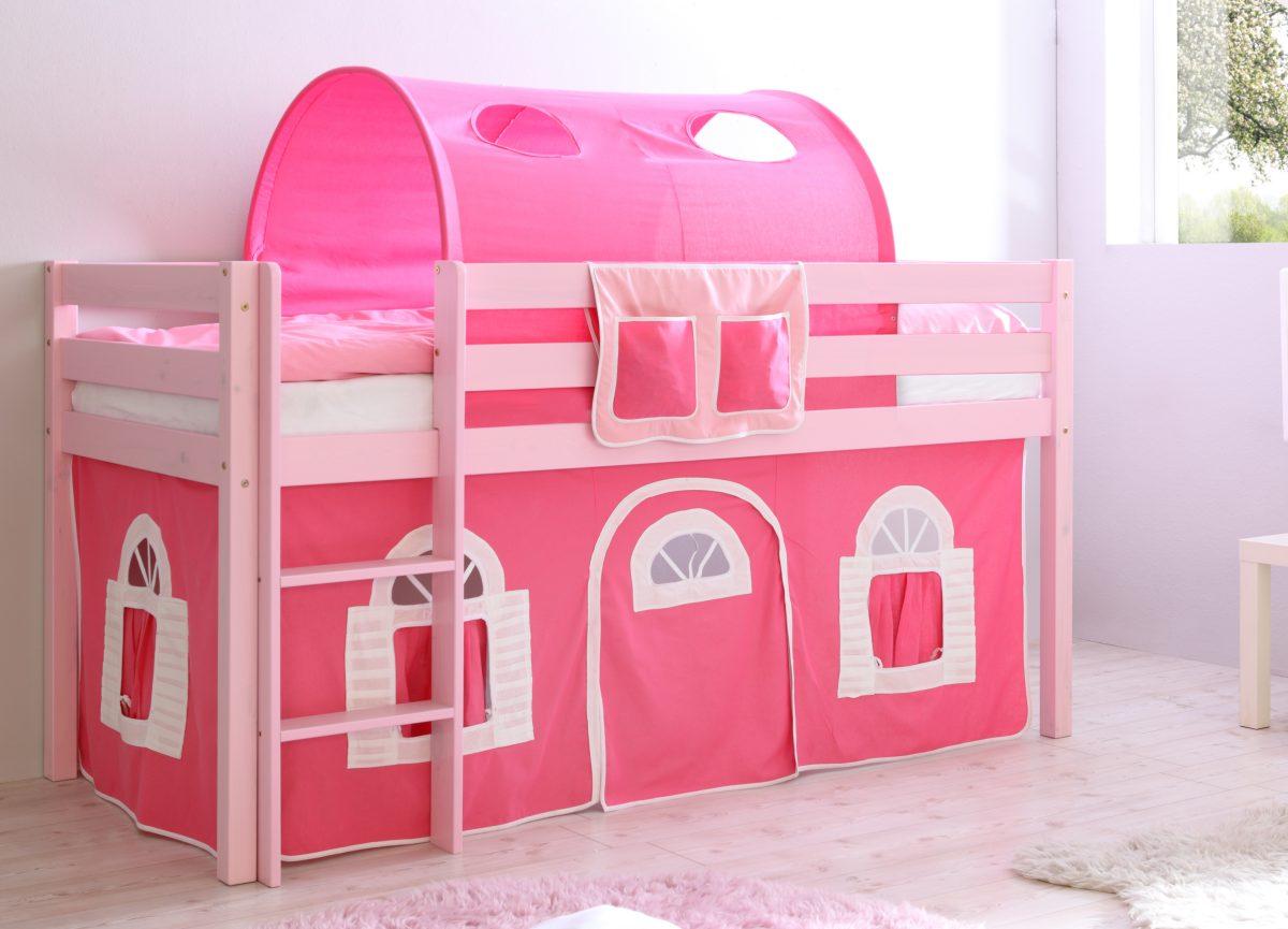 Gartenmobel Palette Diy : KinderHochbett Malte Kiefer massiv, rosa lackiert von TICAA seh