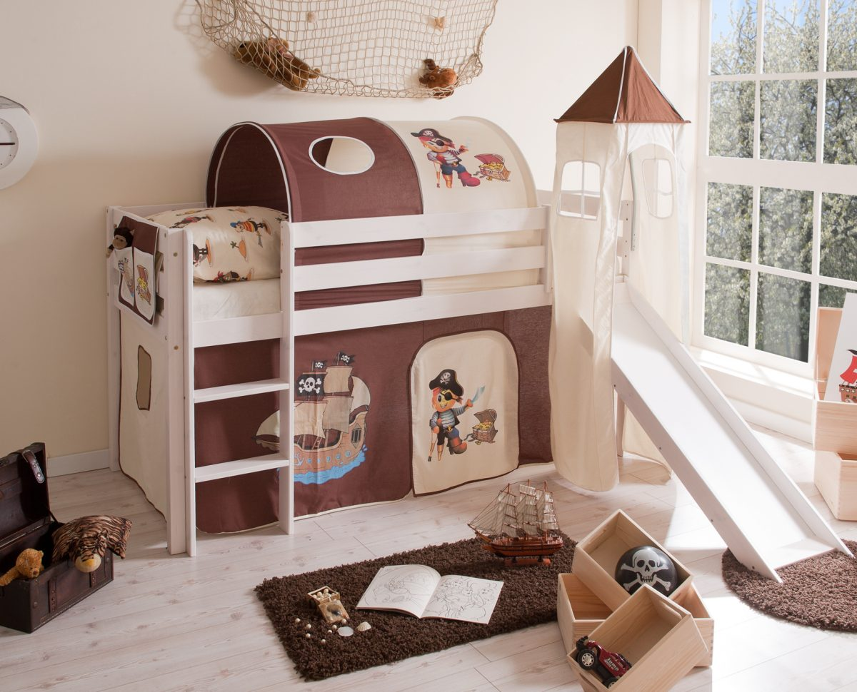 robustes und sicheres kinderhochbett aus kiefer massiv mit turm rutsche leiter und. Black Bedroom Furniture Sets. Home Design Ideas