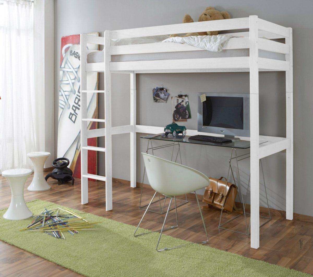 kinderhochbett tolly gl buche wei lackiert modernes. Black Bedroom Furniture Sets. Home Design Ideas