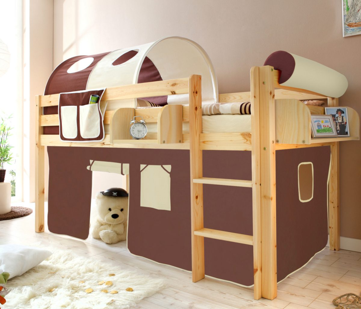 kinder hochbett malte kiefer natur von ticaa sehr hochwertiges und sicheres kinderhochbett. Black Bedroom Furniture Sets. Home Design Ideas