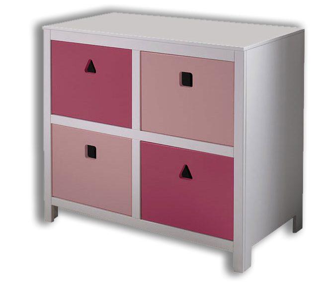 kommode cubo rosa moderne und besonders robuste kinderzimmer kommode mit 4 schubladen. Black Bedroom Furniture Sets. Home Design Ideas