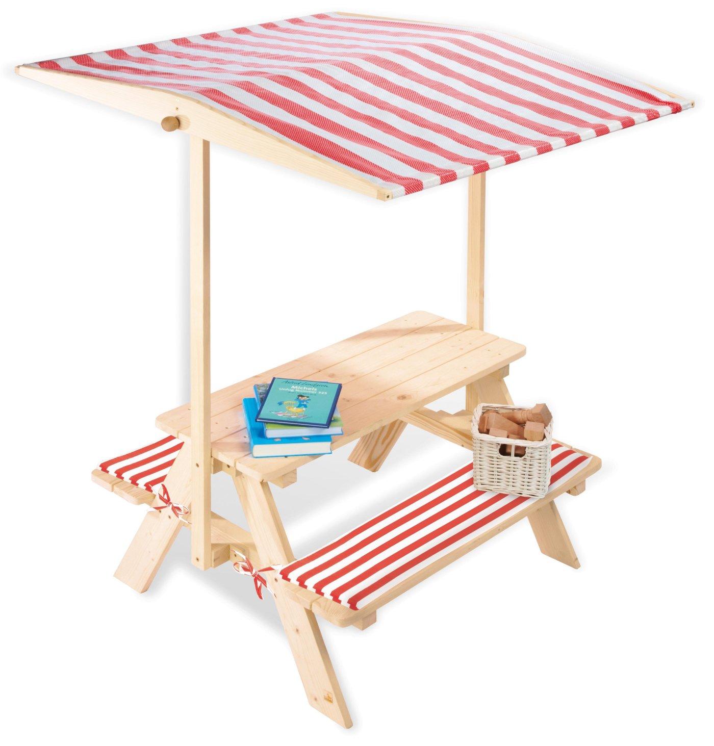 Gartenmobel Palette Diy :  KinderGartenbank (FichteMassivholz) mit Stoffdach als Sonnenschutz