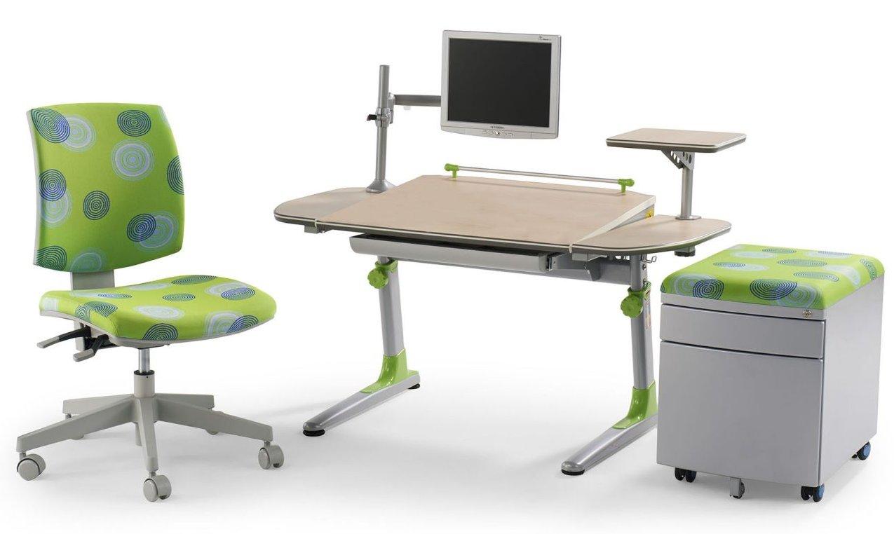 robuster kinderschreibtisch myflexo 3225 gr n mit. Black Bedroom Furniture Sets. Home Design Ideas