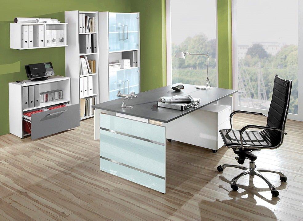 robuste b roschr nke und h henverstellbarer wangengestell schreibtisch grafitfarbener tischplatte. Black Bedroom Furniture Sets. Home Design Ideas