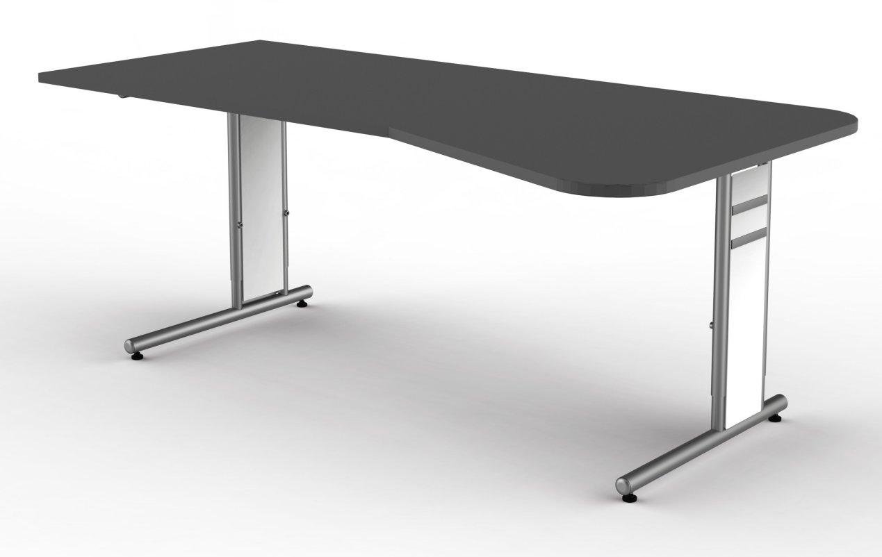 edv schreibtisch mit gro er arbeitsfl che computerarbeitsplatz tischplatte anthrazit. Black Bedroom Furniture Sets. Home Design Ideas