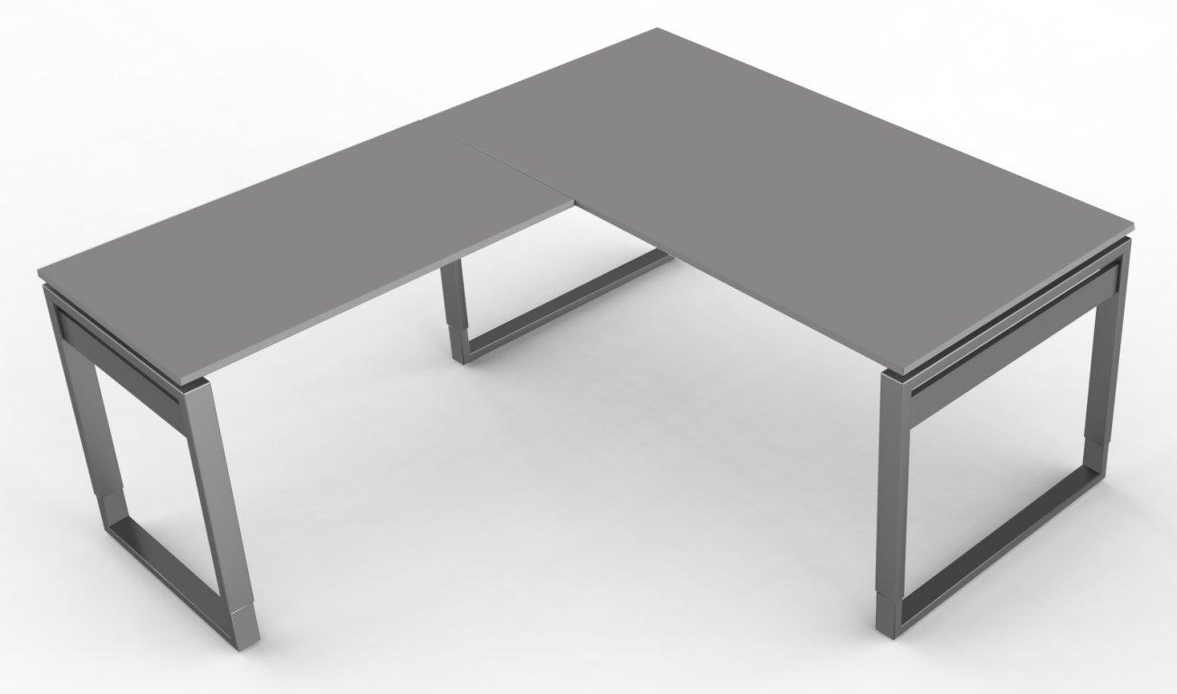 eck schreibtisch h henverstellbar mit kabelkanal f r steckdosleisten. Black Bedroom Furniture Sets. Home Design Ideas