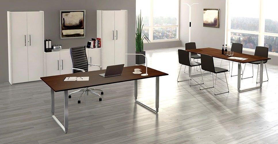 moderne und preiswerte b rozimmereinrichtung wei e b roschr nke mit h henverstellbarem. Black Bedroom Furniture Sets. Home Design Ideas