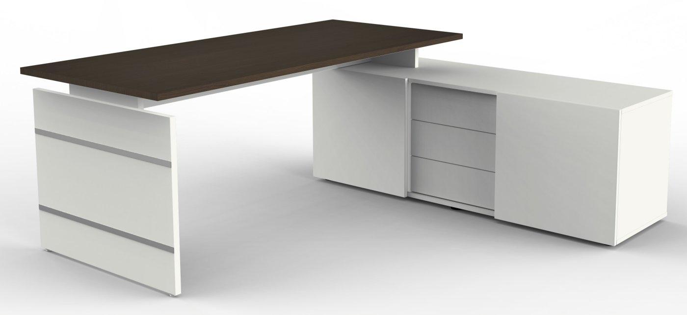 Moderner b roschreibtisch mit hochwertigem b ro sideboard for Platzsparender schreibtisch