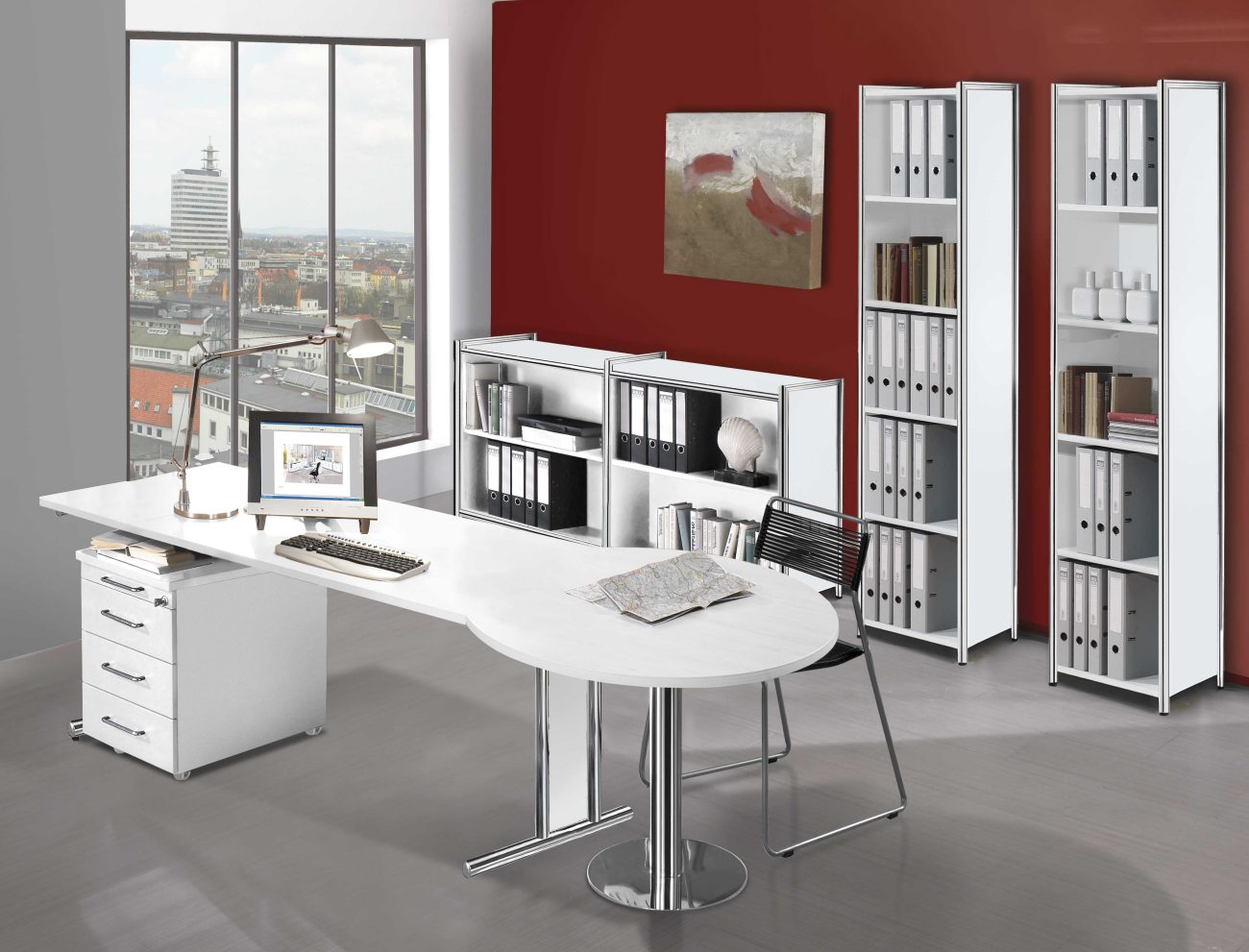 Hochwertige und preiswerte Büromöbel im Rundrohr-Stahlgestell ...