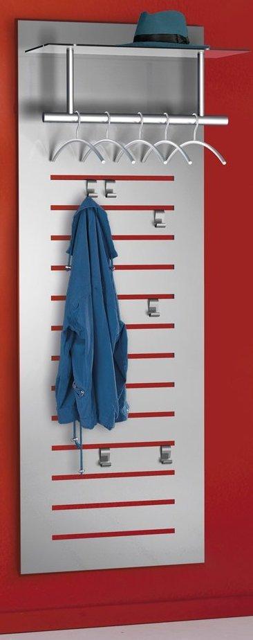 Moderne stahl wandgarderobe mit mantelhaken und hutablage for Moderne wandgarderobe
