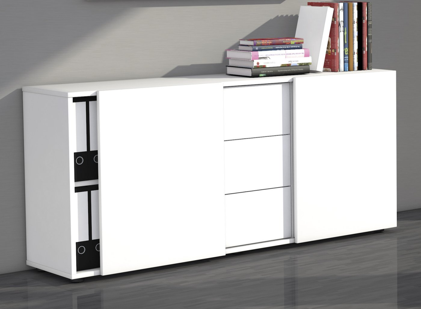 wei es b ro sideboard mit 2 schiebet ren und 3 schubladen. Black Bedroom Furniture Sets. Home Design Ideas