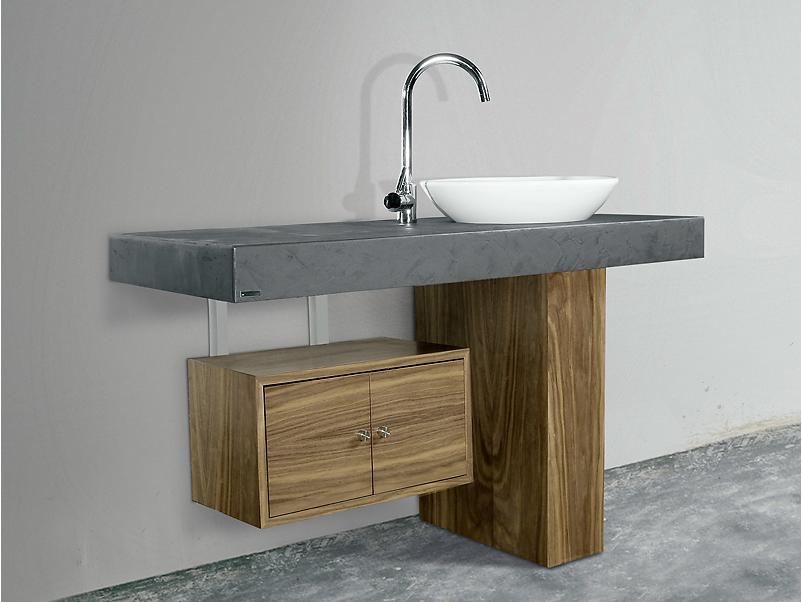 Badezimmer-Waschtisch in Schieferoptik mit einem eleganten Keramik ... | {Waschtischplatte mit unterschrank 46}