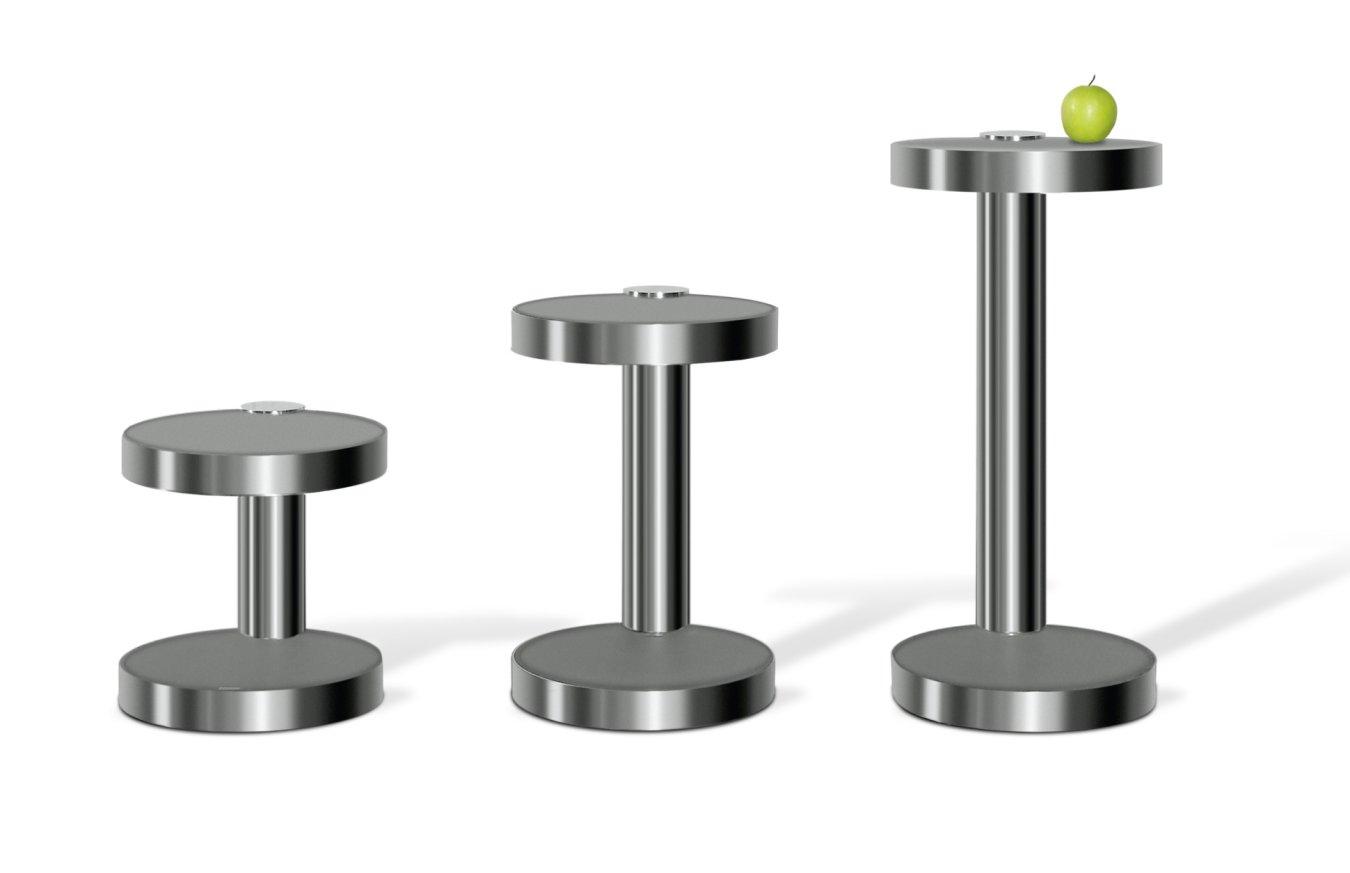 eleganter Telefontisch, Pflanzentisch aus Edeltahl mit ...