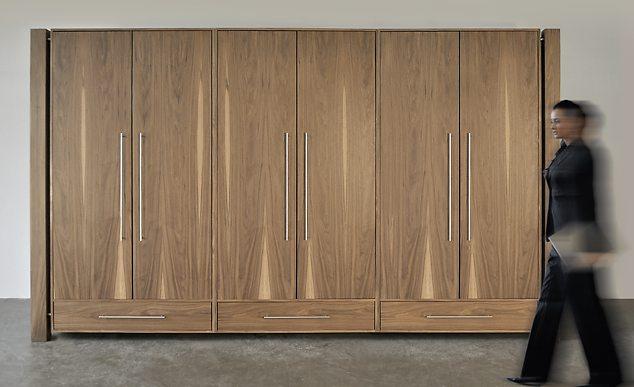 schrank loft art305 nussbaum sehr moderner und hochwertiger kleiderschrank mit 6 t ren und 3. Black Bedroom Furniture Sets. Home Design Ideas