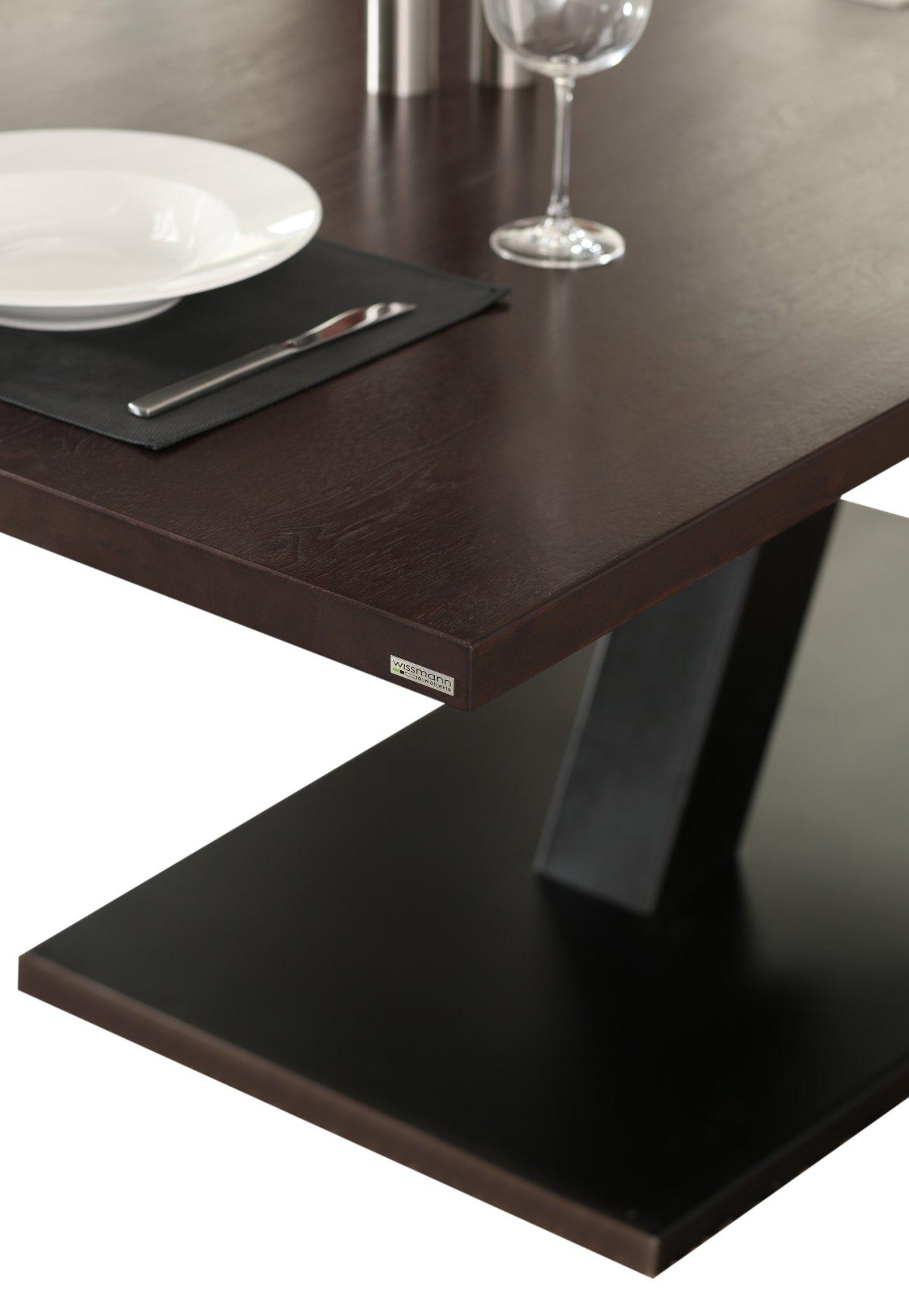 Esstisch nussbaum dunkel  eleganter Säulen-Esstisch mit einem massivem Stahl-Tischbein und ...