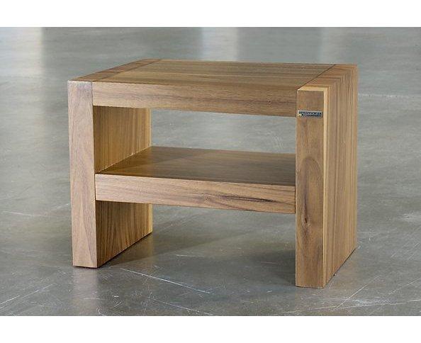Nachttisch Beistelltisch Holz ~   moderner Nachttisch (Oberboden wahlweise Holz massiv oder Edelstahl