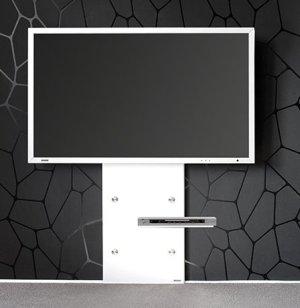 elegante und stabile tv wandhalterung mit schwenkarm aus stahl. Black Bedroom Furniture Sets. Home Design Ideas