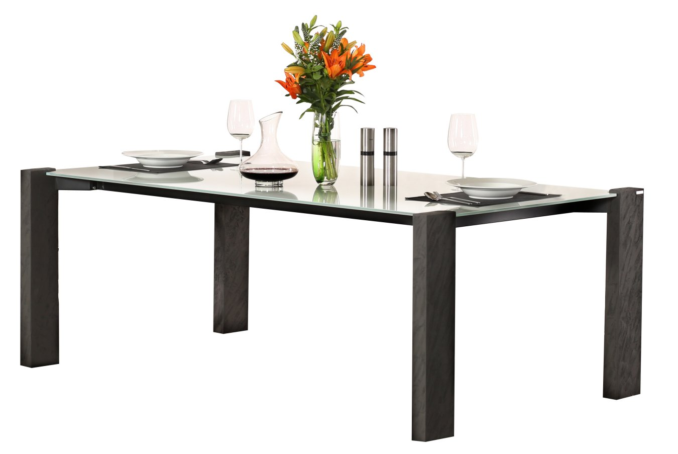 Moderner design esstisch mit wei er glastischplatte und for Pokerstars tisch design