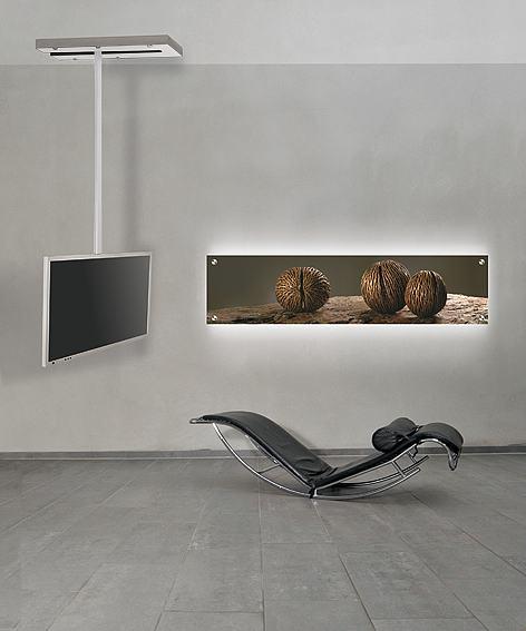 frei drehbare und schwenkbare tv deckenhalterung mit bewegungsschiene um den flachbildschirm. Black Bedroom Furniture Sets. Home Design Ideas