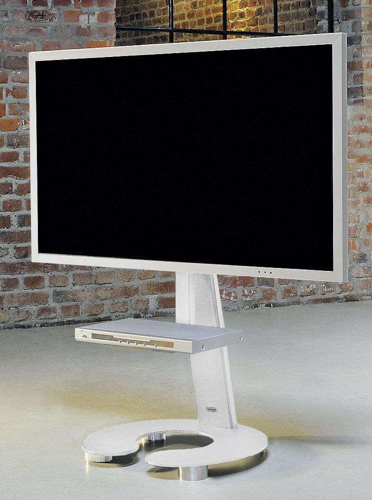 eleganter fernseher standfu mit edelstahl fachboden und verdeckten laufrollen. Black Bedroom Furniture Sets. Home Design Ideas
