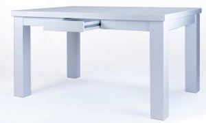 moderner esstisch in hochglanz wei mit schubladen. Black Bedroom Furniture Sets. Home Design Ideas
